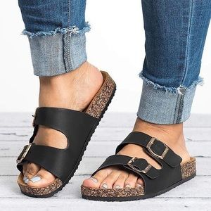 Shoes - Black double wrap women's summer slides sandals